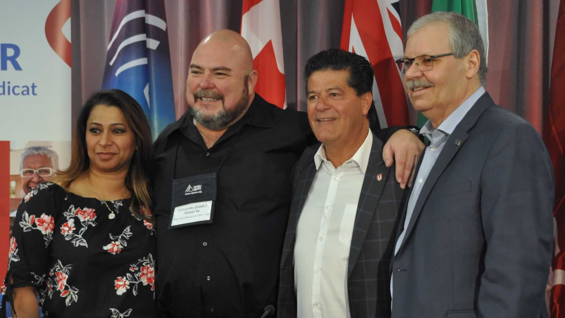 From left to right: Naureen Rizvi, Unifor Ontario Regional Director, Eduardo (Eddy) Almeida, OPSEU First Vice-President/Treasurer, Jerry Dias, Unifor National President, Warren (Smokey) Thomas, OPSEU President.