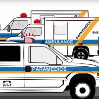 Illustration of ambulances