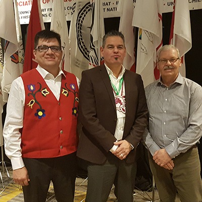 OPSEU President Warren (Smokey) Thomas (right) with Chief Duke Peltier, Wikwemikong Unceded First Nation (left) and Ontario Regional Chief Isadore Day.