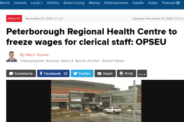 Peterborough Regional Health Centre to freeze wages for clerical staff: OPSEU