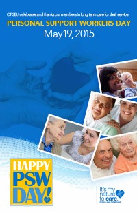 Personal Support Worker Day, May 19, 2015, poster featuring a collage of photos of personal support workers with seniors.