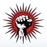 PYC Logo, fist raised against a red backdrop
