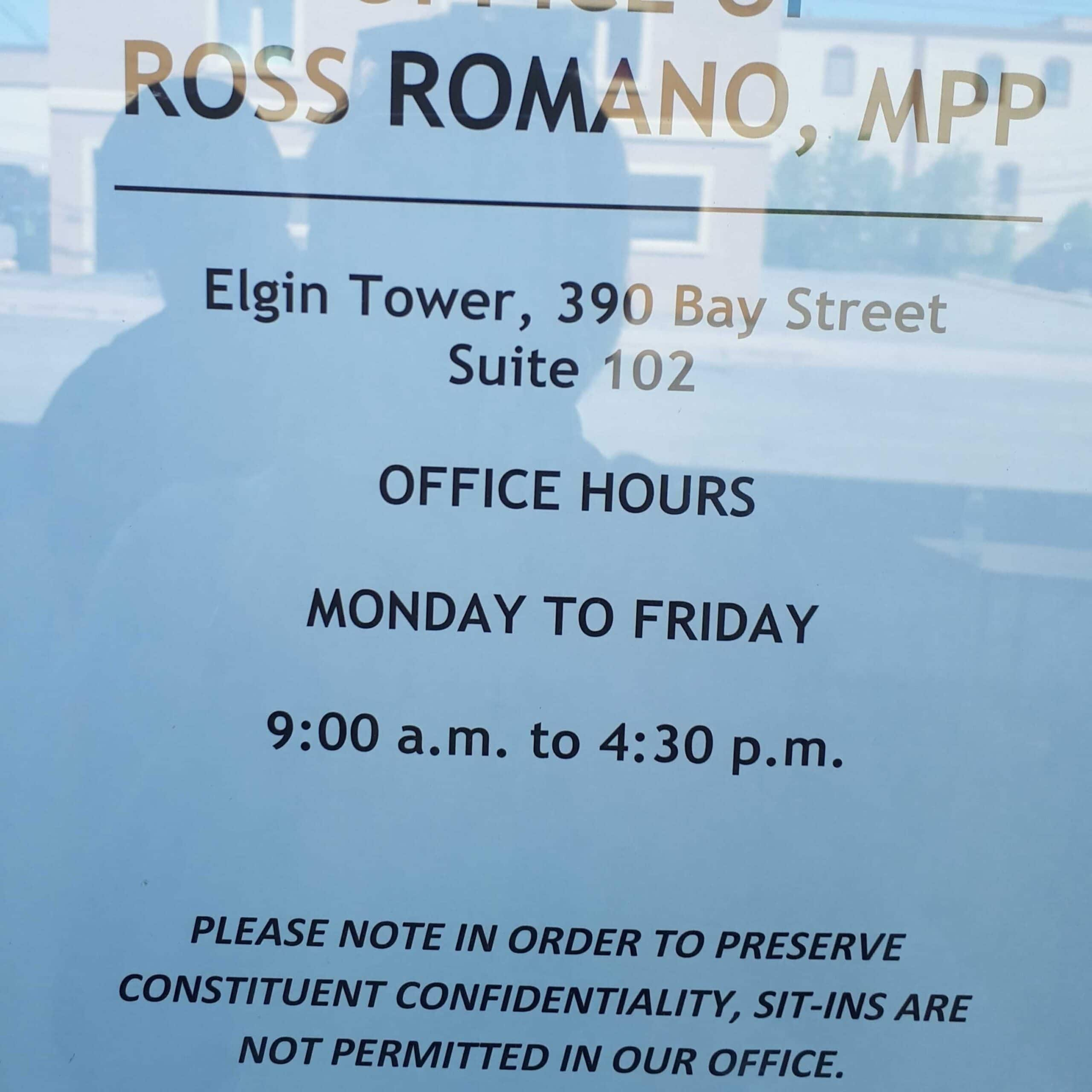 MPP Ross Romano - Sit-ins are not permitted in our office