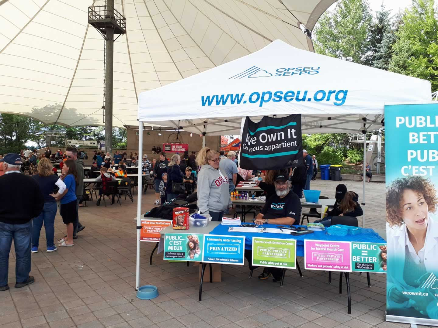 OPSEU tent at the Sault Ste Marie Labour Day
