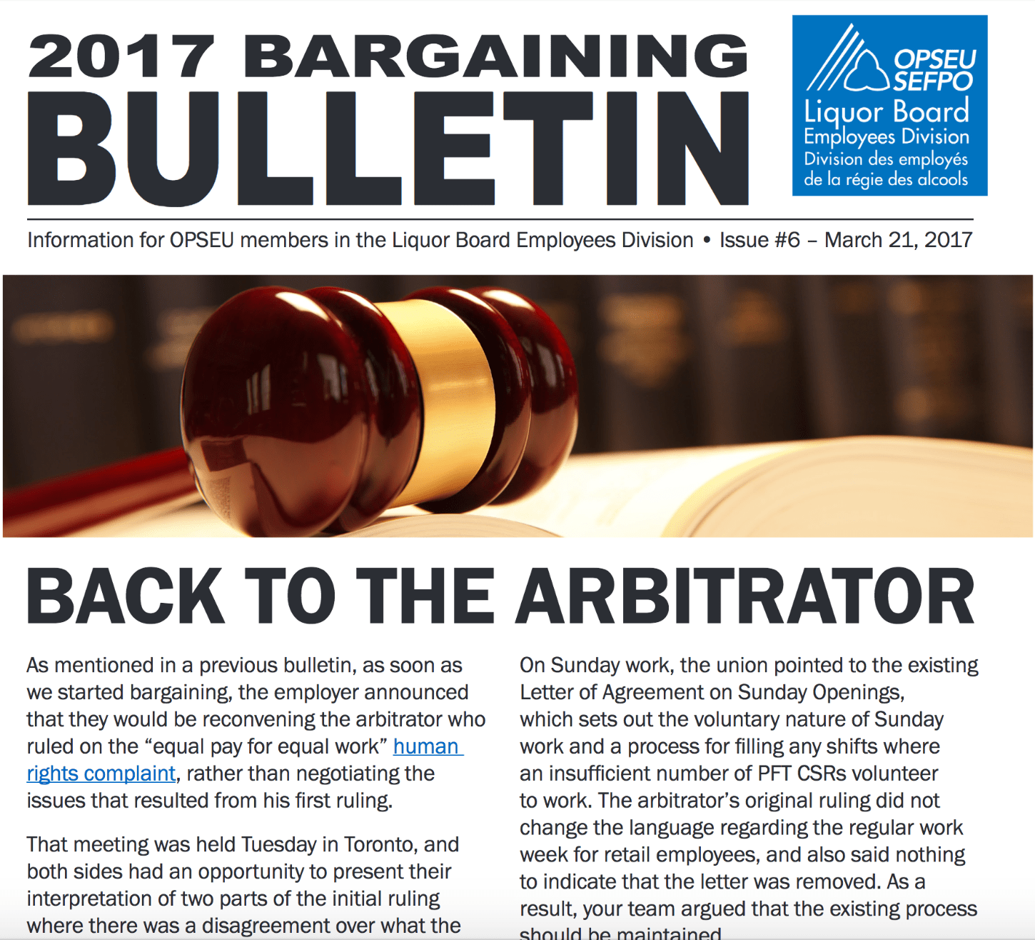 LBED 2017 Bargaining Bulletin, Issue 6, March 21, 2017