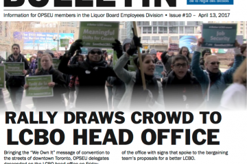 Rally draws crowd to LCBO head office - 2017 LBED Bargaining Bulletin, Issue 10