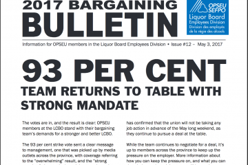 93 per cent: Team returns to table with strong mandate - 2017 LBED Bargaining Bulletin #12