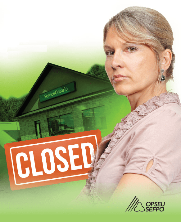 Woman standing outside a ServiceOntario centre with a large orange sign beside her saying CLOSED