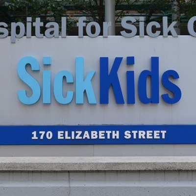 Outdoor sign for the Sick Kids Hospital