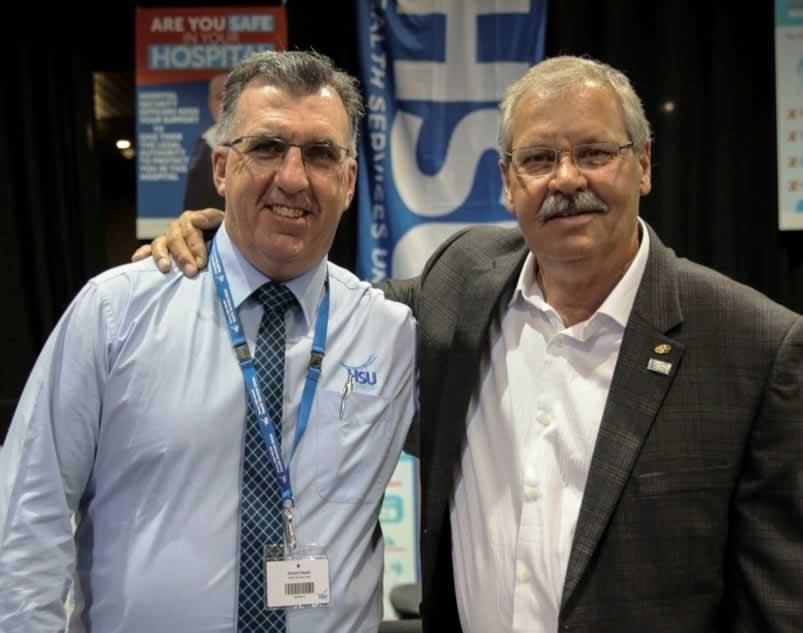 HSU Secretary Gerard Hayes and OPSEU President Warren (Smokey) Thomas