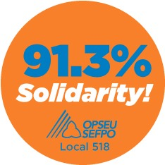 91.3% Solidarity! OPSEU Local 518