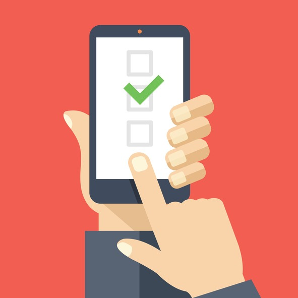 Illustration of person clicking boxes on a phone.