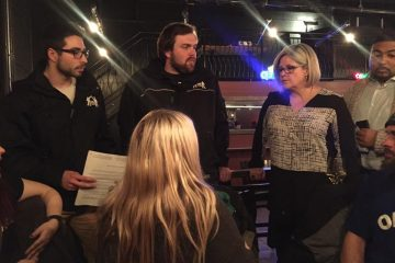 OPSEU members at Shelter House speak with Horwath in Thunder Bay
