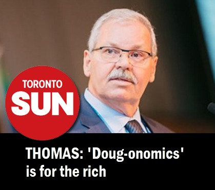 OPSEU President Warren Smokey Thomas with Toronto Sun headline: Thomas: 'Doug-onomics is for the rich'