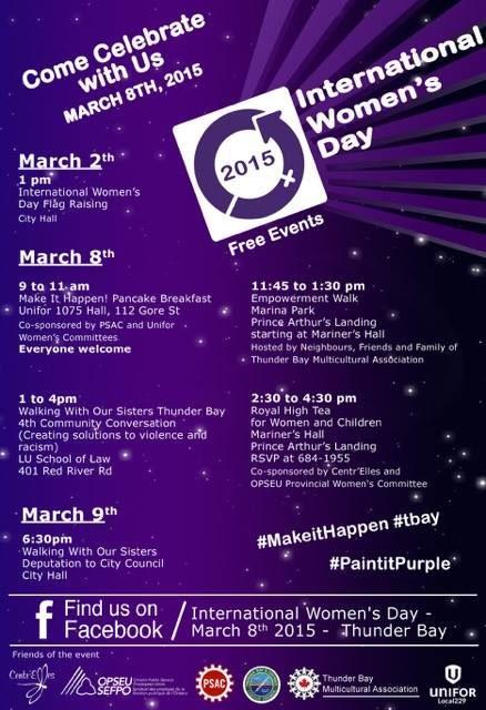 2015 International Women's Day Thunder Bay events poster