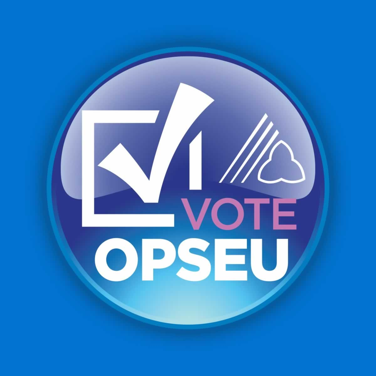 "Lapel button with a check mark and the text ""Vote OPSEU"""