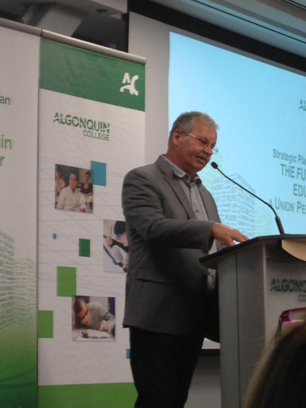OPSEU President Warren (Smokey) Thomas gives a presentation on the future of education to Algonquin College, May 21.