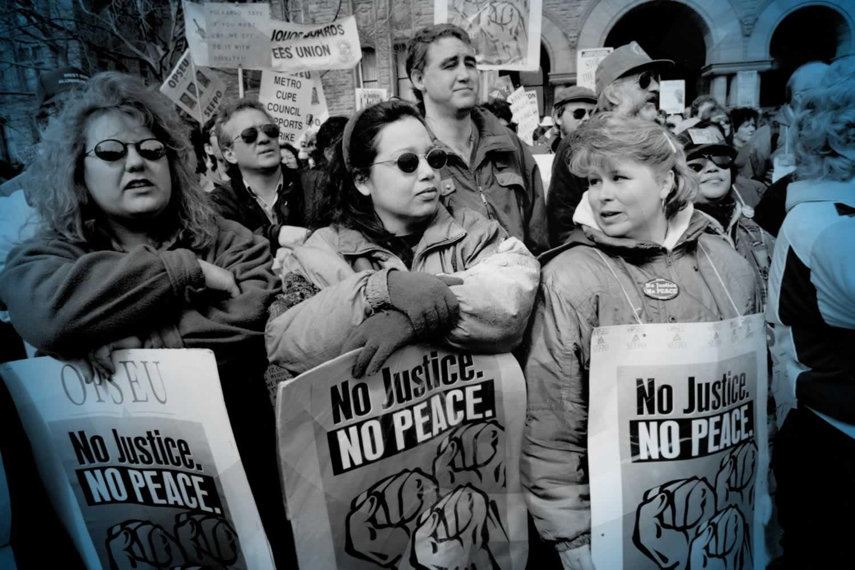 1990s OPSEU No Justice No Peace rally