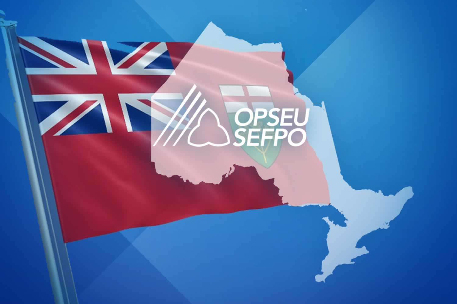 Ontario flag and Ontario map