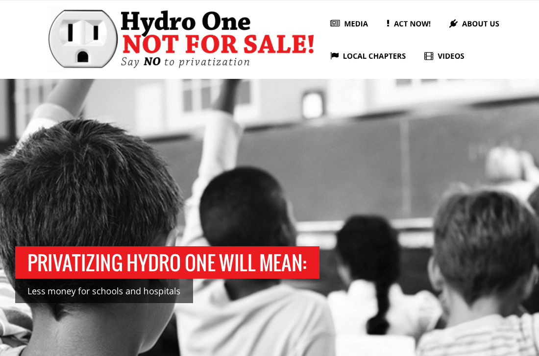 Hydro One Not For Sale website