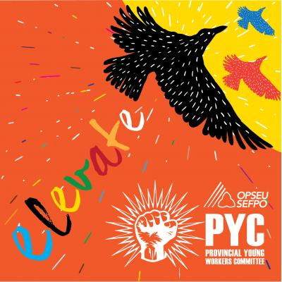 Elevate: PYC conference poster of birds and logo
