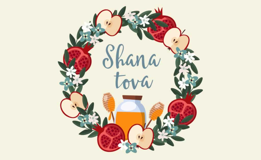 Shana tova circular wreath with apples and pomegranates