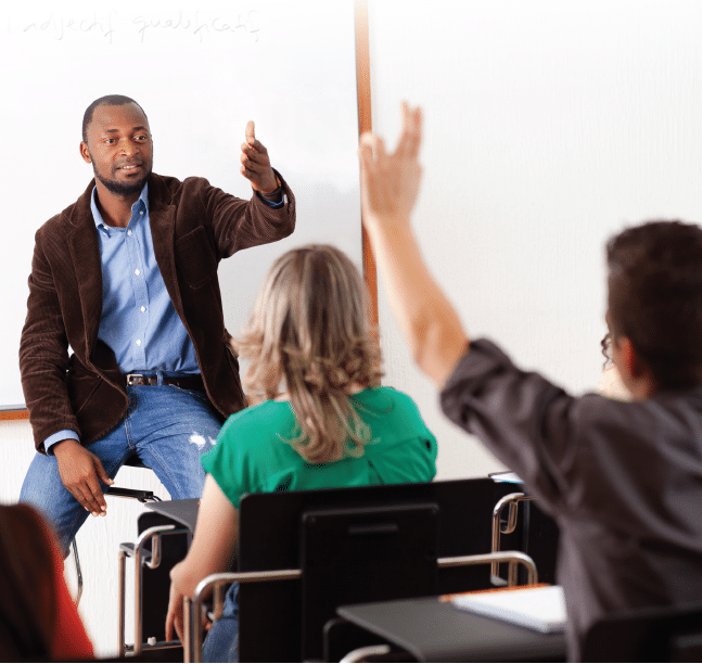 Teacher standing in front of class