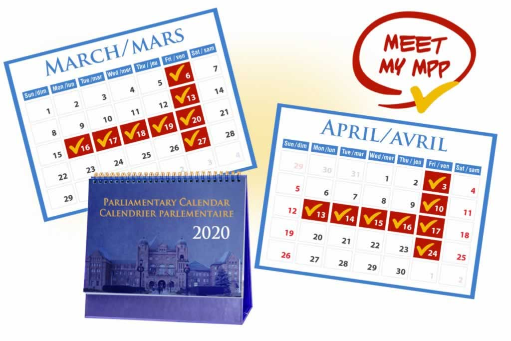 Parliamentary calendar dates for March and April