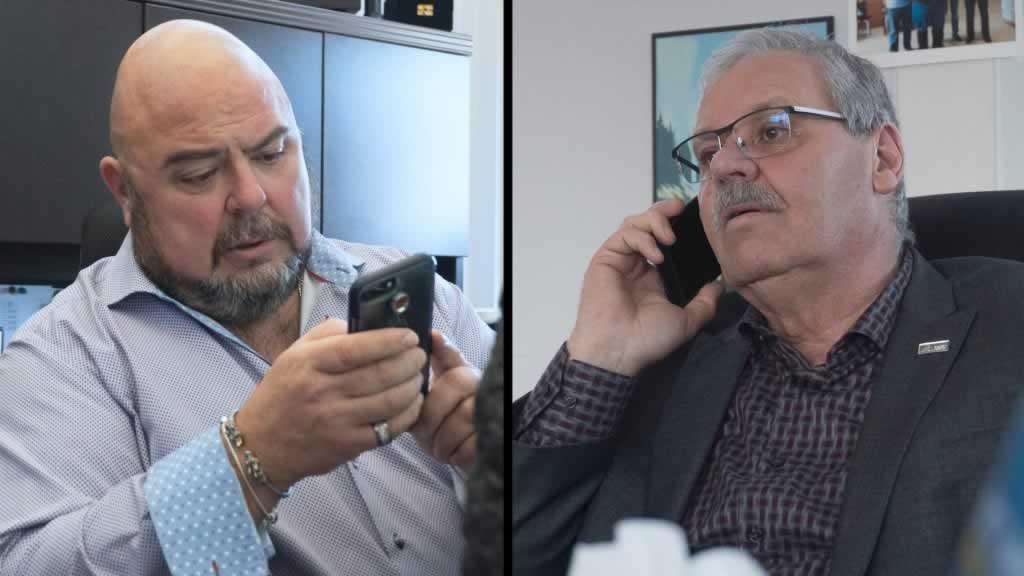 Two photos: one of Warren (Smokey) Thomas, one of Eddie Almeida, both on the phone
