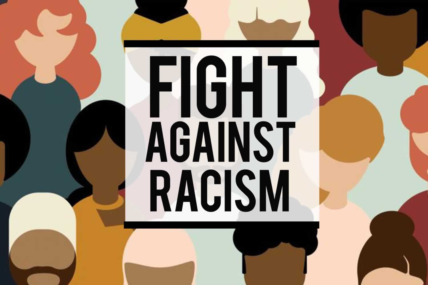 Fight Against Racism. Illustration of diverse group of people