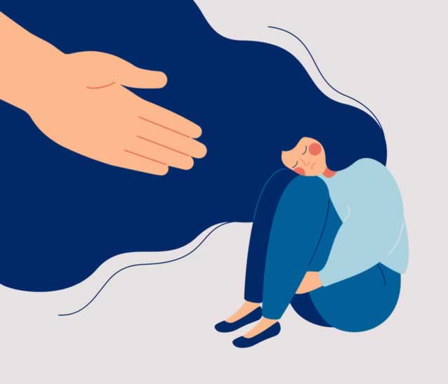 Hand reaching out to a woman in distress.