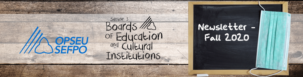 Fall 2020 Newsletter for OPSEU Sector 3, Boards of Education and Cultural Institutions