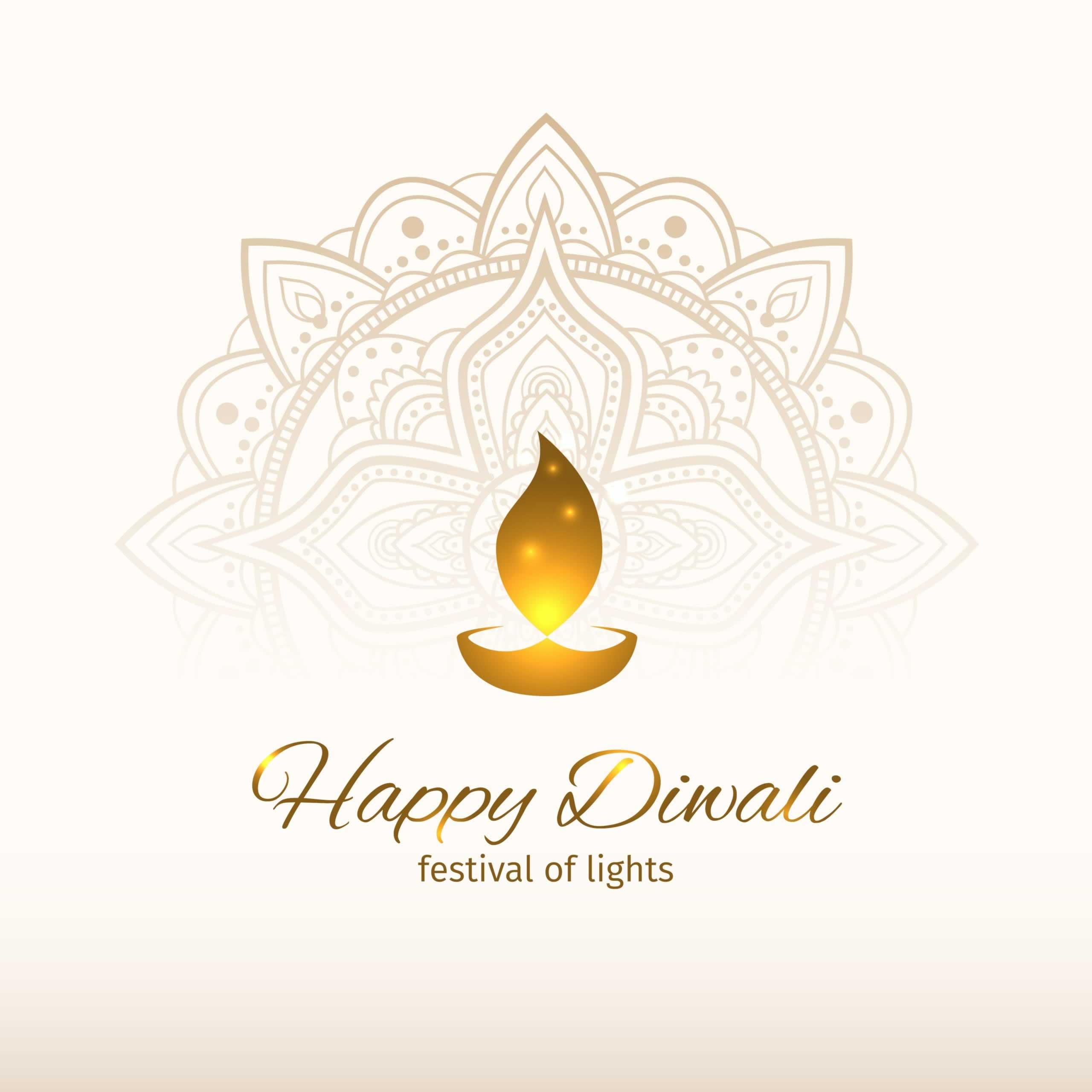 Happy diwali vector illustration. Design template with light festive golden background. Festive diwali card. White background with mandala. Vector holiday illustration