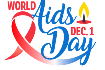 World Aids Day December 1. A ribbon and candle are pictured.
