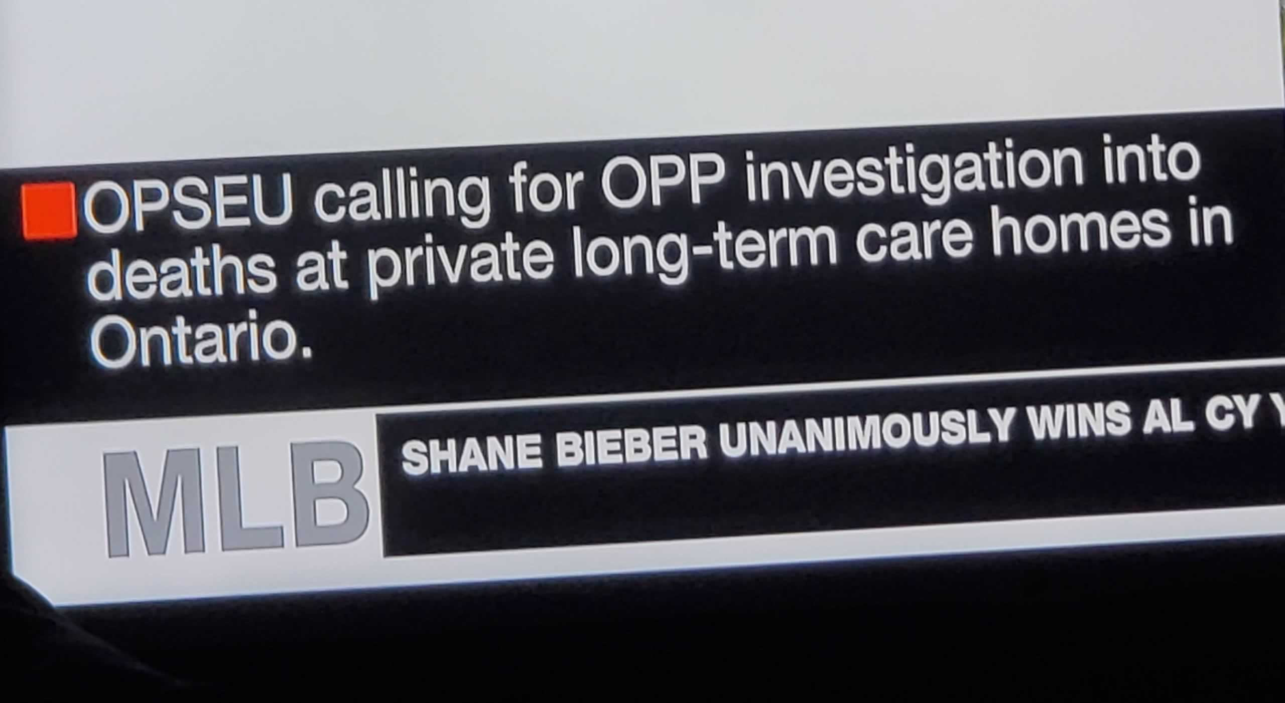 CP24 headline: OPSEU calling for OPP investigation into deaths at private long-term care homes in Ontario