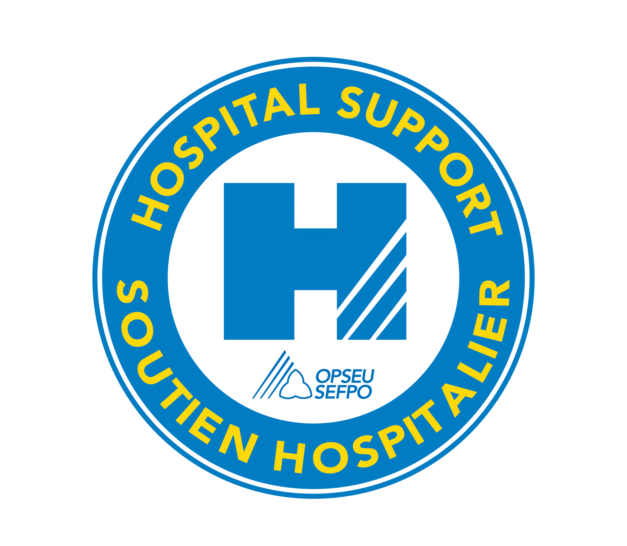 Circular logo with Hospital Support around the top, Soutien Hospitalier around the bottom