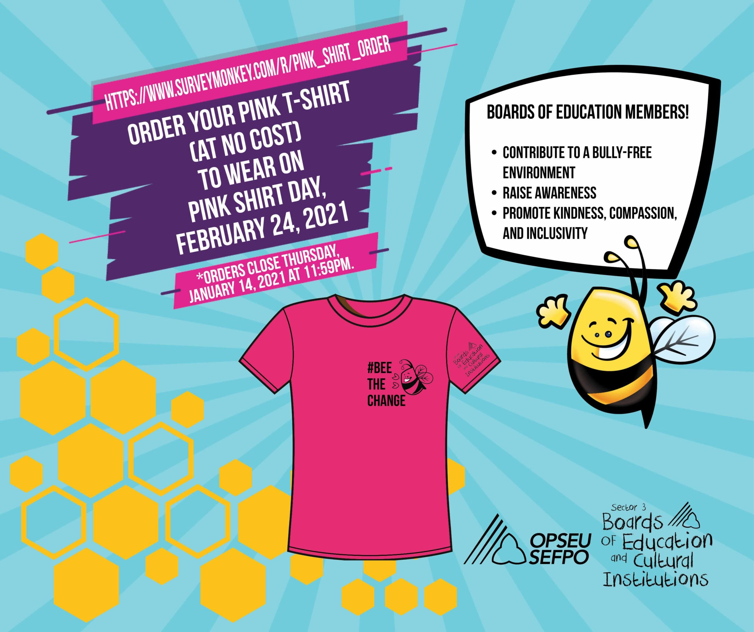 Infographic for Pink Shirt day: Order your pink shirt (at no cost) to wear on pink shirt day February 24 2021