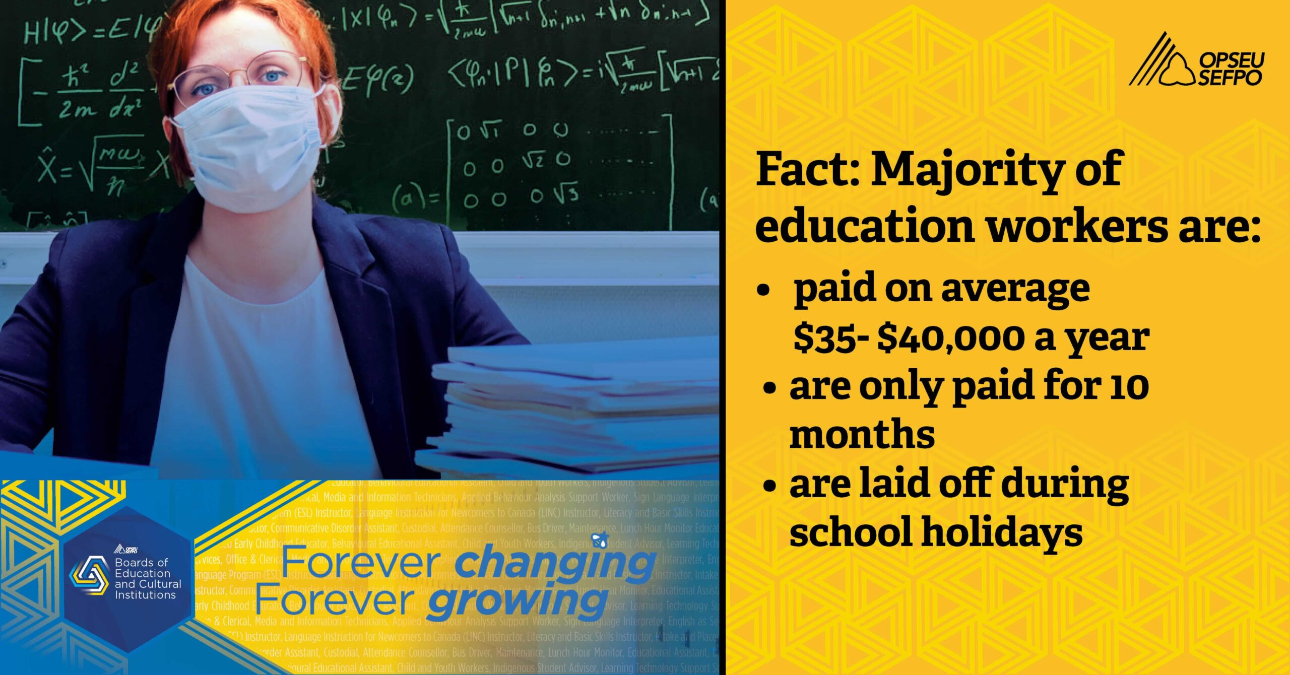 Fact: Majority of education workers are paid on average 35 to 40 thousands a year, are only paid for 10 months, and are laid off duringng school holidays.
