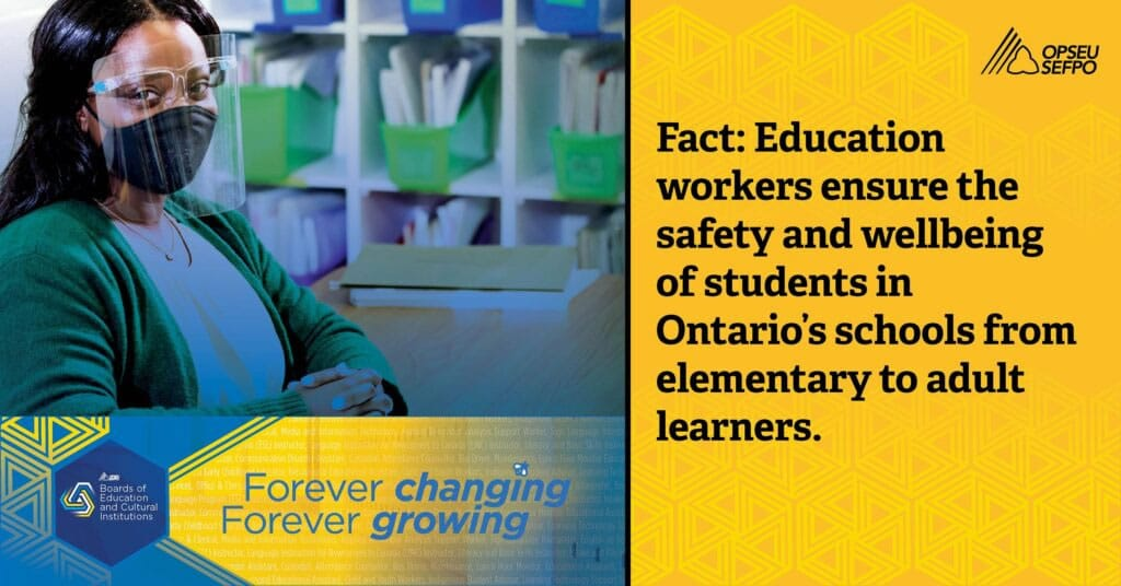 Fact: Education workers ensure the safety and wellbeing of students in Ontario's schools from elementary to adult learners