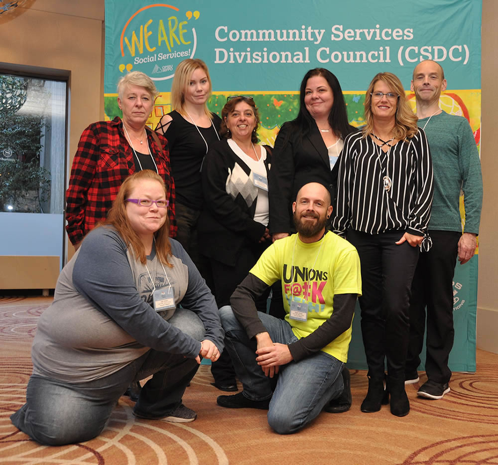 Develomental Services Executive: Back (l-r) Karen McKinnon (bargaining rep-at-large), Courtney Huycke (health & safety rep), Silvana Cacciatore (vice-chair 2b), Erin Smith-Rice (chair), Wendy Nield (vice-chair 2c), Scott Collins (secretary treasurer). Front (l-r) Kelly Holmes (communications rep), Stephen Woods (vice-chair 2a)