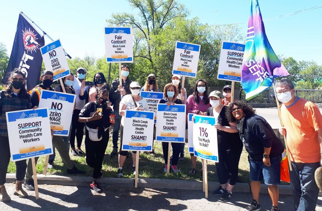 Striking community health care workers at Black Creek Community Health Centre