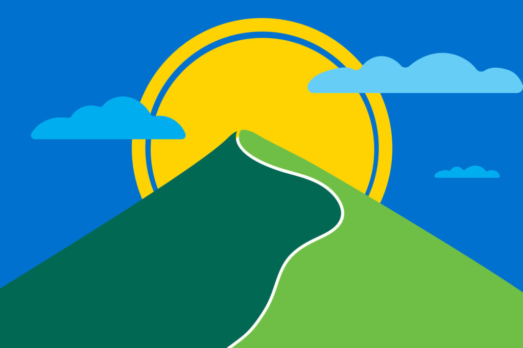 Colourful graphic of a mountain road leading up towards the sun.